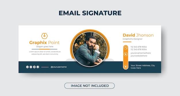 Современный дизайн шаблона подписи делового электронного письма или нижний колонтитул электронного письма с зеленым и желтым цветом