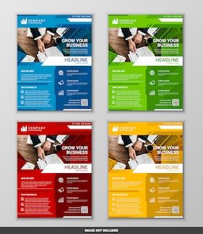 Modern business flyer design template set,