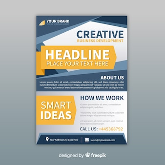 Modern business flyer template with abstract shapes