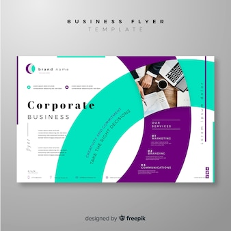 Modern business flyer template with colorful shapes