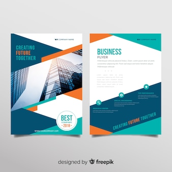 Modern business flyer template with geometric design