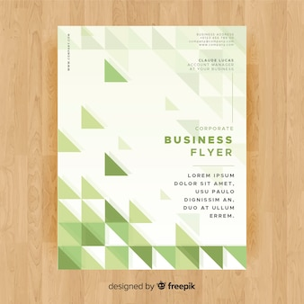 Modern business flyer template with green triangles