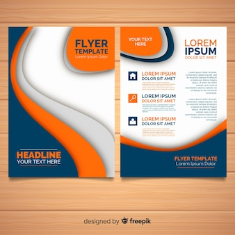 Modern business flyer with abstract shapes