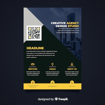 Modern business flyer with city perspective and infographic