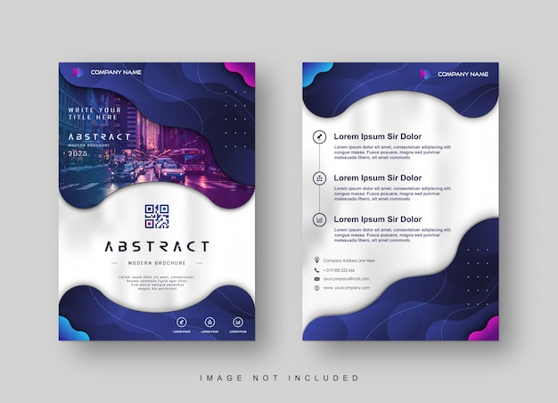 Modern business flyer with gradient blue navy liquid abstract
