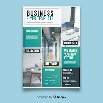 Modern business flyer with photo mosaic