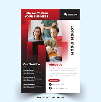 Modern business flyer with red color vector template