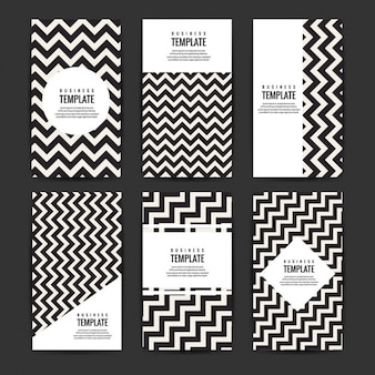 Modern business flyers template set with zig-zag lines