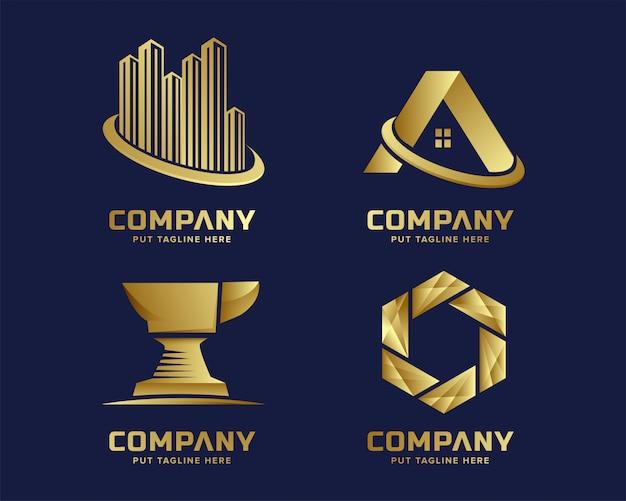 Modern business golden logo template