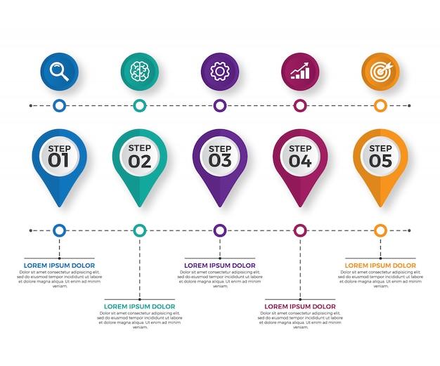 Modern business horizontal timeline
