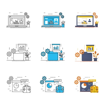 Modern business icon set