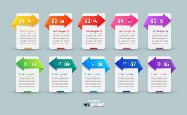 Modern business infographic 10 steps