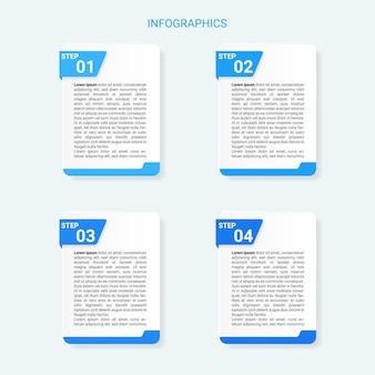 Современная бизнес-концепция инфографики с 4 шагами Premium векторы