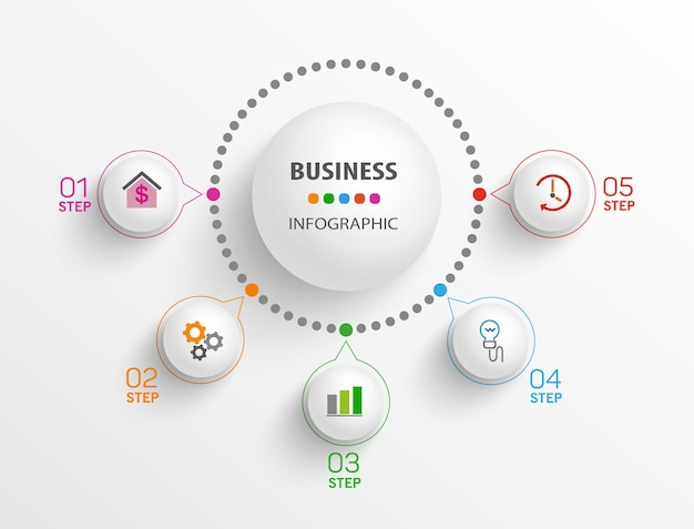Modern business infographic design template  with 5 steps