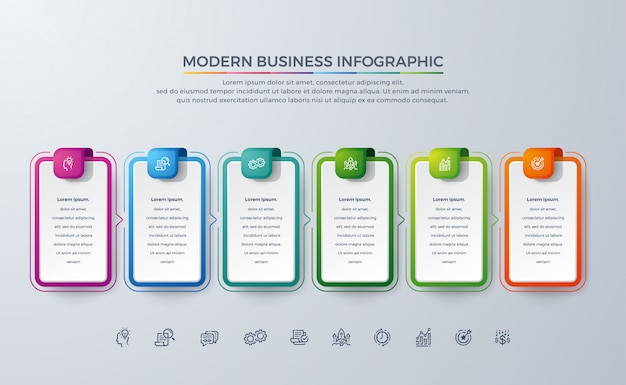 Modern business infographic design with 6 process choices or steps.