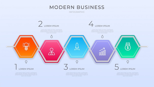 Modern business infographic process with vibrant color and include icon