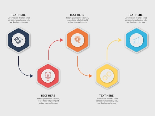 Modern business infographic template 5 steps