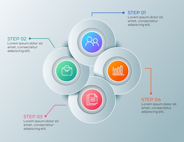 Modern business infographic with 4 steps
