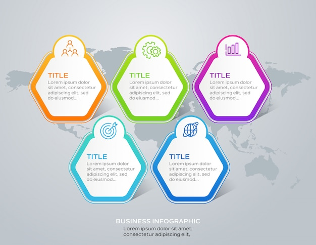 Modern business infographic with 5 options or steps