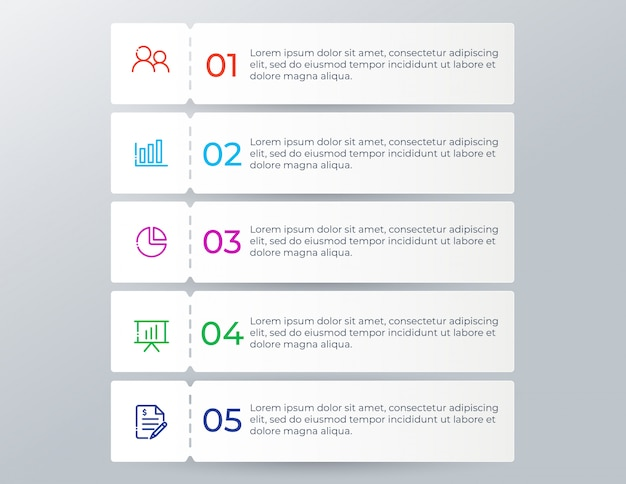 Modern business infographic with 5 options steps