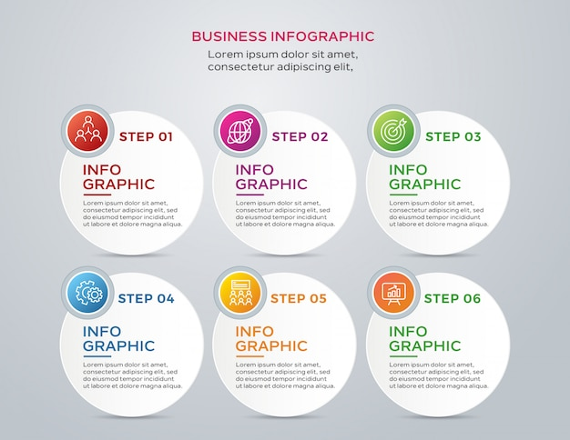 Modern business infographic with 6 steps