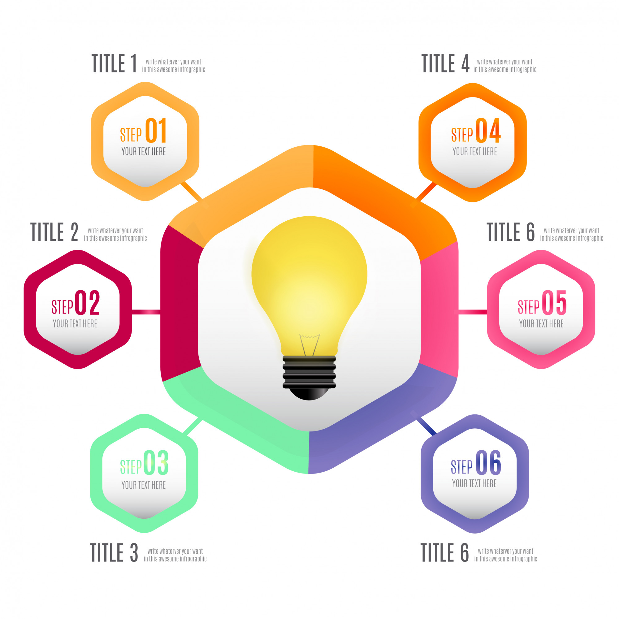 Modern Business infographic with realistic light bulb