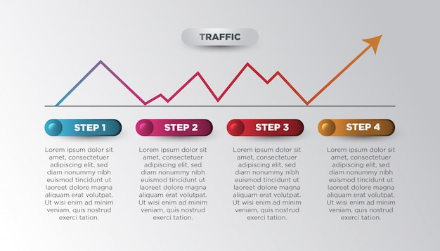 Modern business infographic with statistic arrow in colorful gradient