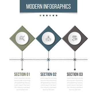 Modern business infographics elements with 03 steps