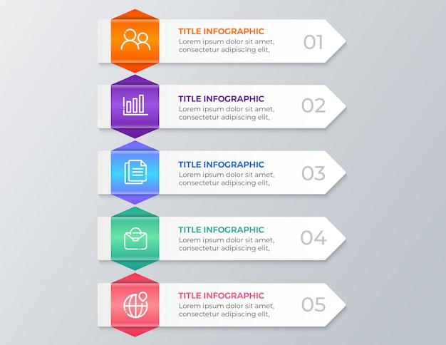 Modern business infographics five steps