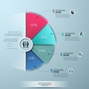 Modern business infographics template circle origami style