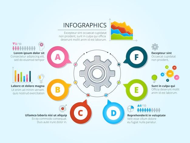 放射状の形状を持つ現代のビジネスインフォグラフィック。グラフ、チャート、テキストの場所を含むテンプレート。ビジネスグラフの進捗状況、チャートと図のスキーム。図