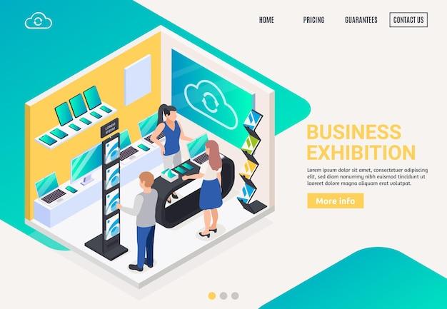 Стенд для продвижения инновационных электронных продуктов современного бизнеса предлагает изометрическую композицию, целевая страница веб-сайта