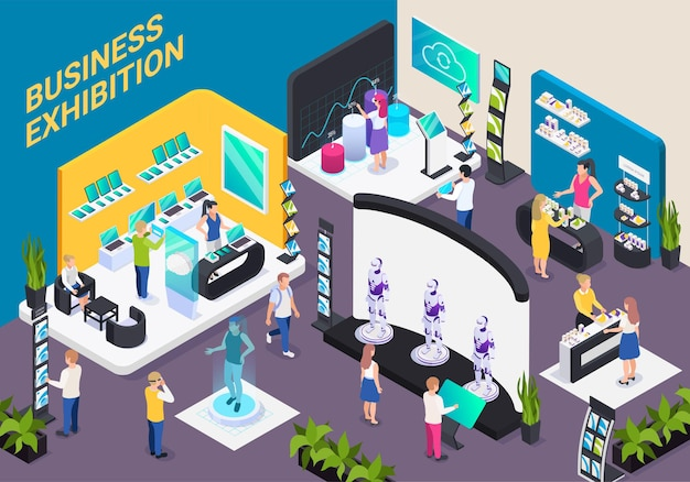 Modern business innovative technology exhibition hall isometric composition with electronic devices robots promotion stands visitors