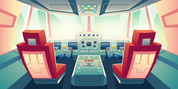 Modern business jet cockpit cartoon illustration