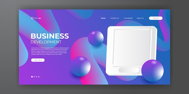 추상적인 현대적인 3d 배경을 가진 현대적인 비즈니스 방문 페이지 템플릿입니다. 동적 그라데이션 구성입니다. 방문 페이지, 표지, 브로셔, 전단지, 프레젠테이션, 배너 디자인. 벡터 일러스트 레이 션