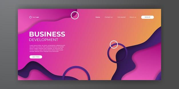 Современный шаблон целевой страницы бизнеса с абстрактным современным 3d фоном. динамическая градиентная композиция. дизайн посадочных страниц, обложек, брошюр, флаеров, презентаций, баннеров. векторная иллюстрация