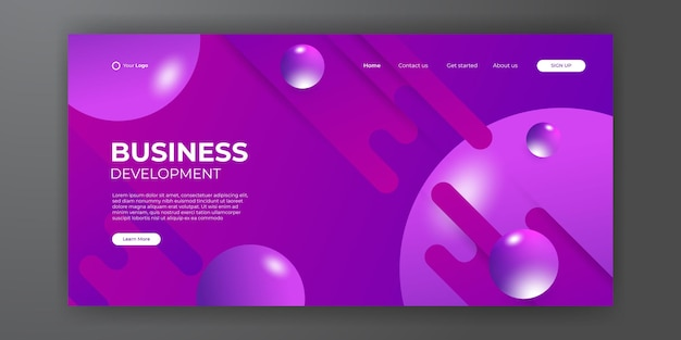 Modern business landing page template with abstract modern 3d background. dynamic gradient composition. design for landing pages, covers, brochures, flyers, presentations, banners. vector illustration