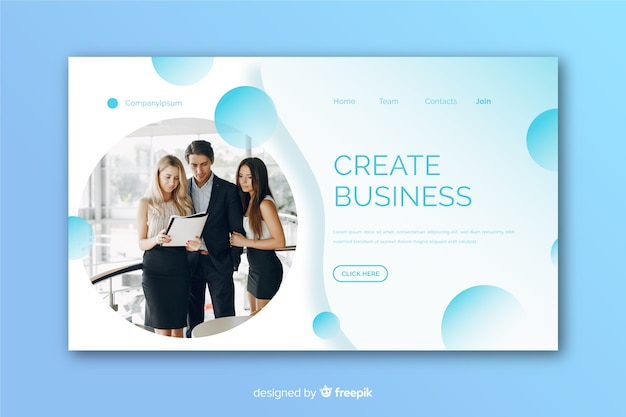 Modern business landing page with photo