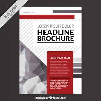 Modern business leaflet with polygons and red details