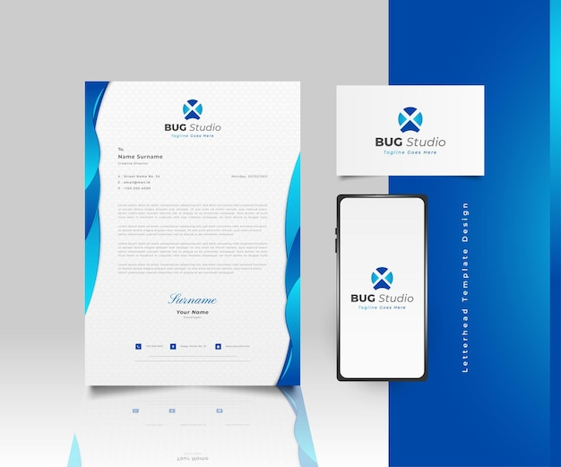 Modern business letterhead template design in blue gradient with logo, business card and smartphone
