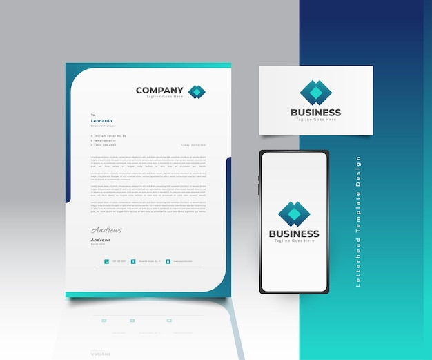 Modern business letterhead template design in blue and green gradient with logo, business card and smartphone