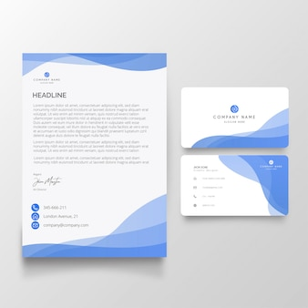 Modern business letterhead with visiting card pack