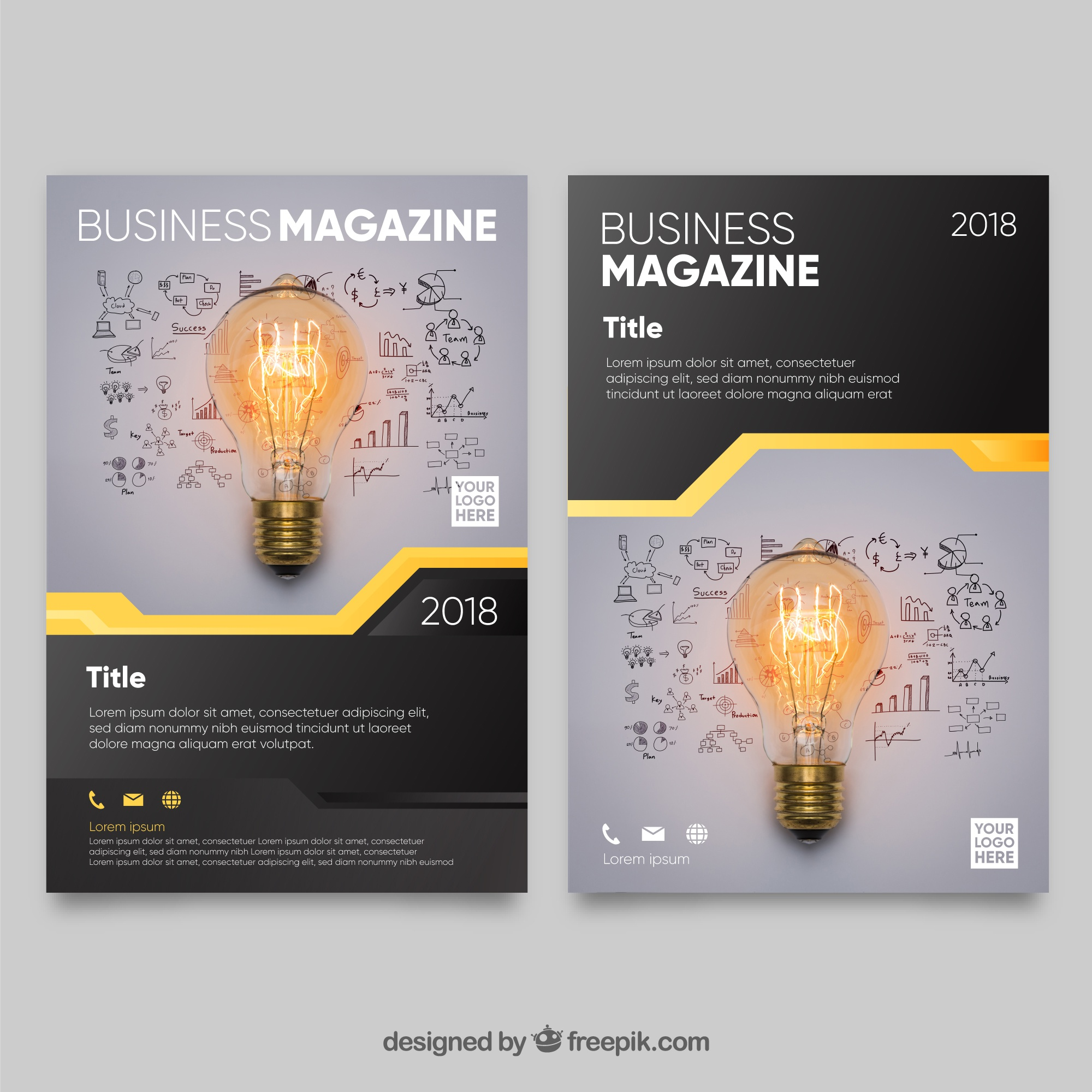 Modern business magazine cover template with photo