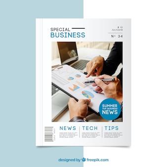 Modello di copertina moderna rivista di affari con foto
