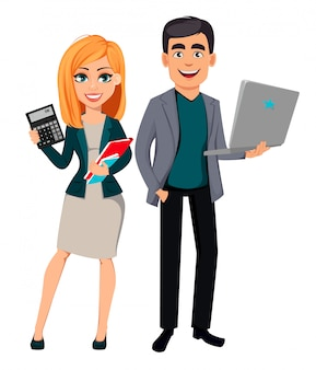Modern business man and business woman