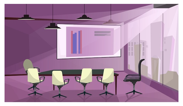 Modern business meeting room illustration