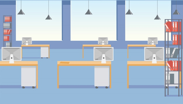 Modern business office space flat vector interior