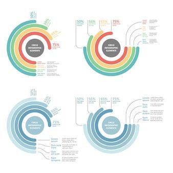 現代のビジネスオプションサークルインフォグラフィックは、図、サークルカットライン、番号オプションに使用できます。