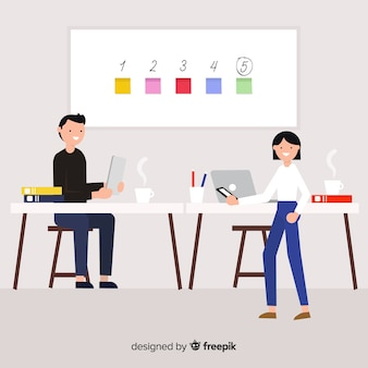 Modern business people with flat design