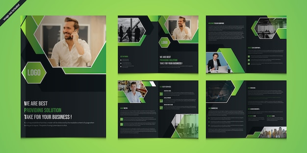Modern business presentation or company profile with 8 pages and cover